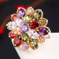 Cheap Free Shipping 5pcs lot 2015 summer New fashion Romantic Luxury Colorful Crystal CZ engagement rings gold ring
