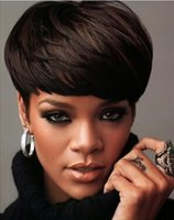 Straight cheap wigs - Cheap Machine Made Human Hair Wig Natural Black Straight Brazilian Human Hair Handsome Short Hair