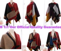 Wholesale TOP TOP Quality Famous Brand B Blanket Coat Original Women Poncho Olivia Palermo Burb Cape Woollen Scarf Fashion Star Shows wool shawl