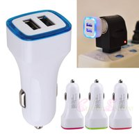 Car Chargers For HTC NO 3.1A Universal LED Light Dual USB Port Car Charger White Adapter for iphone 6S 6 Samsung Galaxy S6 plus S5 Note
