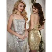 allure bridesmaids dresses - 2016 Short Silver Gold Sequins Bridesmaid Dresses Christina Wu Style twopiece adds a certain allure with its bateau neckline Dresses