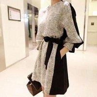 2015 Outono Inverno Moda Roupas Femininas Estilo coreano Contraste Cor retalhos Casual Vestidos magros com manga comprida e Cinturão OXL15091407