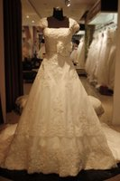 Wholesale 2015 Lace Wedding Dresses Square A Line Bows Capped Sleeve Sequins Beading Embroidery Lace up Court Train Organza Luxury Wedding Dress