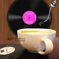 vinyl record - Hot sale Spinning Retro Vinyl CD Record Drinks Coasters Vinyl Coaster Cup Mat