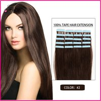 Wholesale 16inch inch Tape in Human Hair Extensions set Brazilian Virgin Hair Skin Weft Human Hair Extension Color