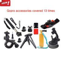 Wholesale 12 in GoPro Hero M Size Bag Car Pole Monopod Bike Wrist Tripod Mount Travel Kit Movement necessary accessories