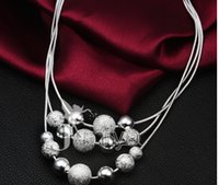 Wholesale 10pcs drop shipping Christmas gift Girls High quality More than three lines bead necklace Women s accessories silver plating
