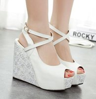 Wholesale Sexy Cross Strappy Blue White Wedding Shoes Platform Wedge Sandals Peep Toe Bridesmaid Shoes Size to