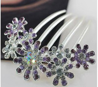 Wholesale Authentic luxury crystal diamond encrusted hair accessories Send flowers inserted diamond comb hair tire sun flower bride go headdress