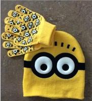 Wholesale 2pcs set Hot Sale Children s Winter Cartoon Minions Glove Hat Sets Fashion Kids Baby Warm Knitted Caps Gloves JIA644