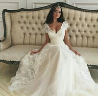 neck lace - Charming vestidos de noiva A line wedding dresses custom made with short cap sleeves V neck sexy court train lace applique bridal gowns