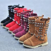 Wholesale Fashion New Kids Autumn Boots Rivet Zip Riding Mid calf Girls Boots Flat With Boys Suede Boots Shoes Kids