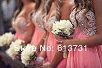 appliques - 2015 New Arrival Elegant Short Bridesmaid Dresses Pink Sweetheart Chiffon Appliqued Beading Short Prom Party Graduation Dresses BO4525