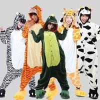 Wholesale Hot Unisex Adult Flannel Pajamas Cartoon Animal Onesie Pyjama Sleepwear Cosplay Suits Winter Warm Garment Pajama Costumes