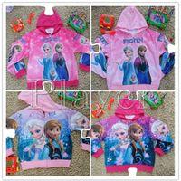 Wholesale Spring Autumn Korea Girls Europe Frozen Anna Elsa Children Cartoon Clothing Long Sleeve Sweatshirt Pure Cotton Coat new arrival