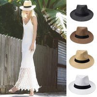 Wholesale Fashion Men Women Panama Sun Hats Summer Contrast Color Straw Ribbon Pinched Crown Rolled Trim Floppy Hat Beach Hats