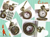 Wholesale 2015 Mini Retro Vine classical Pocket Watch Bronze Steampunk Quartz Necklace Pendant Chain Clock Floral Hollow watches