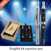 Cheap Wholesale-Evod e cigarette kingfish k4 dry herb atomizer wax vaporizer pen cigarro eletronico vapor mod with black and stainless colors