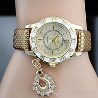 Wholesale Fashion Lady Dress Diamond Watches Luxury Swan Pendant Wristwatches Women Leather Dress watches Crystal hours gold Wristwatch