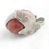 Pendant Necklaces Celtic Unisex Ruby White Jade Natural Stone Ball Bead Silver Plated Mascot Elephant Reiki Pendulum Pendant Charms Amulet Fashion Jewelry 10pcs