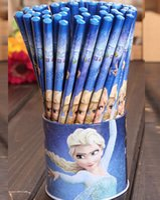 Wholesale 72pcs Frozen Anna Elsa Wood Cartton wooden pencils stationary With Eraser