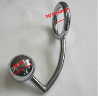 Wholesale Chastity Metal Ball - Male Chastity Cock Lock Anal Plugs Cock Lock Intruder with 4 cm Diameter Big ball Metal Anal Hook Ring Adult Games Sex Toys,647