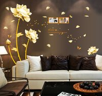 Wholesale Wall Stickers Home Décor Tulip Wall Decals Golden Flowers Wall Decals The Bedroom Wall Decorative Wall Art Stickers WS4043
