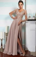 Skirting - Haute Douture Sexy Illusion Lace Long Sleeves V Neck Mother Off Bride Dresses Chiffon Split Skirt Bead Floor Length Mother Suit Formal Dress