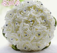 Satin artificial wedding bouquets - 2015 new Beautiful Wedding Bouquet Bridal Bridesmaid Flower wedding bouquet artificial flower rose bouquet white bridal bouquets