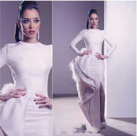 long feathers - 2015 Latest Arabic Celebrity Dress Ivory Feather Ruffle Fashion Evening Dresses Long Sleeve Crew Neck Slit Mermaid Prom Dress Formal Gowns