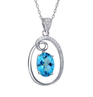 Wholesale Ct Oval Natural American Blue Mystic Topaz Sterling Silver Pendant