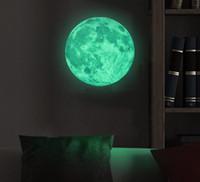 Wholesale Funlife Dia cm in Peel N Stick World Moonlight Sticker Glow In The Dark Moon wall Children Room Luminous Planet FL1073
