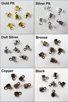 Cheap 300Pcs 4x9mm Fold Over End Cord Crimp Bead Caps For Leather Cord Jewelry Making Craft DIY 4N090