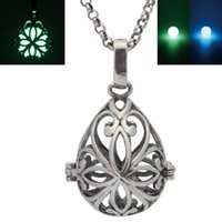 fragrance oil - Glow in the Dark Antique Silver Flower Waterdrop Locket Locket Necklace Perfume Fragrance Essential Oil Aromatherapy Diffuser