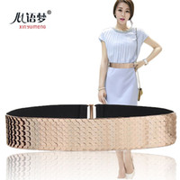 atmosphere nightclub - Stylish atmosphere wide scale decorative elastic girdle wild European and American style nightclub Gold Belt Miss Jin Zhu Chao