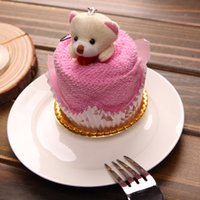 towel cake favors - 2016 New Lovely Teddy Bear Cake Towel cm mini towel Wedding Christmas Valentines birthday gifts Baby shower favors gift souvenirs