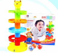 Wholesale New Durable Plastic Colorful Multilayers Tower Rolling Ramp Ball Bell toy Set for Baby Infant Developmental Educational Toys