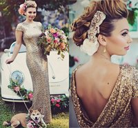 Wholesale Sheath Cap Sleeve Cowl Back Gold Wedding party Dress With Sequined Lace Floor Length Long special occasion prom dresses
