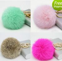 leather key ring - Fashion Cute Genuine Leather Rabbit fur ball plush key chain for car key ring Bag Pendant car keychain