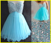 Cheap Real Sample Corset Sweet-heart Beaded Blue Tulle Sequins Homecoming Short Prom Dress Gown Dresses