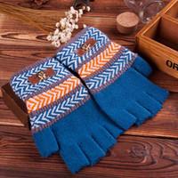 Wholesale Men s Fingerless Gloves Boy Half Finger Winter Stripe amp Medal Soft Cashmere Knit Wool Thicken Guantes Keyboard Mittens Free