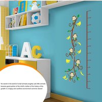 Wholesale Children Height Measurement Sticker - DIY Cute Monkey Tree Height Scale Measurement for Child Kid Removable Wall Sticke Art Decals Stickers Mural Sticker Decal order<$18no track