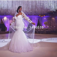 bridal gown sweep train - 2015 Wedding Dresses South Africa Hot Sale Shine Lace Appliqued Sweetheart Long Sleeves Custom Made Bridal Gowns Mermaid Wedding Dress