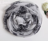arabic hijab design - Printed Lace design white black silk scarves for women Long soft and comfortable pashminas and shawls muslim arabic hijab large size wrap