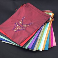 Wholesale Reusable Fine Embroidered Travel Underwear Pouch Bra Storage Bag Sock High End Silk Drawstring Packaging Bags Protective Cover