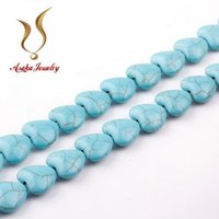 beading necklaces patterns - Natural Blue Turquoise Heart Pattern Loose Beads Stones Beading Jewelry Making DIY Bracelet Necklace Jewelry Making F0037