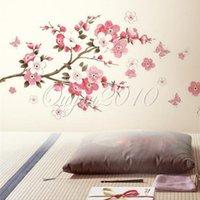 best price wallpaper - Best Price Beautiful DIY Art Vinyl Plum Flower Butterfly Removable Wall Sticker Decal Home Bedroom Wallpaper Decor