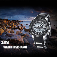 alarms business - Multifunctional Analog Digital Wristwatch Time Date Day Alarm Chronograph Silica Gel Strap Men s Business Sport Quartz Watch J0569