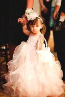 Reference Images Girl Ruffle Fancy Design Hottest Selling New Fashion Jewel Ankle Length Ruffles Baby Pink Organza Cute Ball Gown Little Kids Lovely Flower Girl Dresses