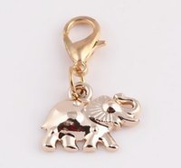 elephant charms - Gold Elephant Alloy Floating Charms Dangle Pendant with Lobster Clasp For Glass Living Locket